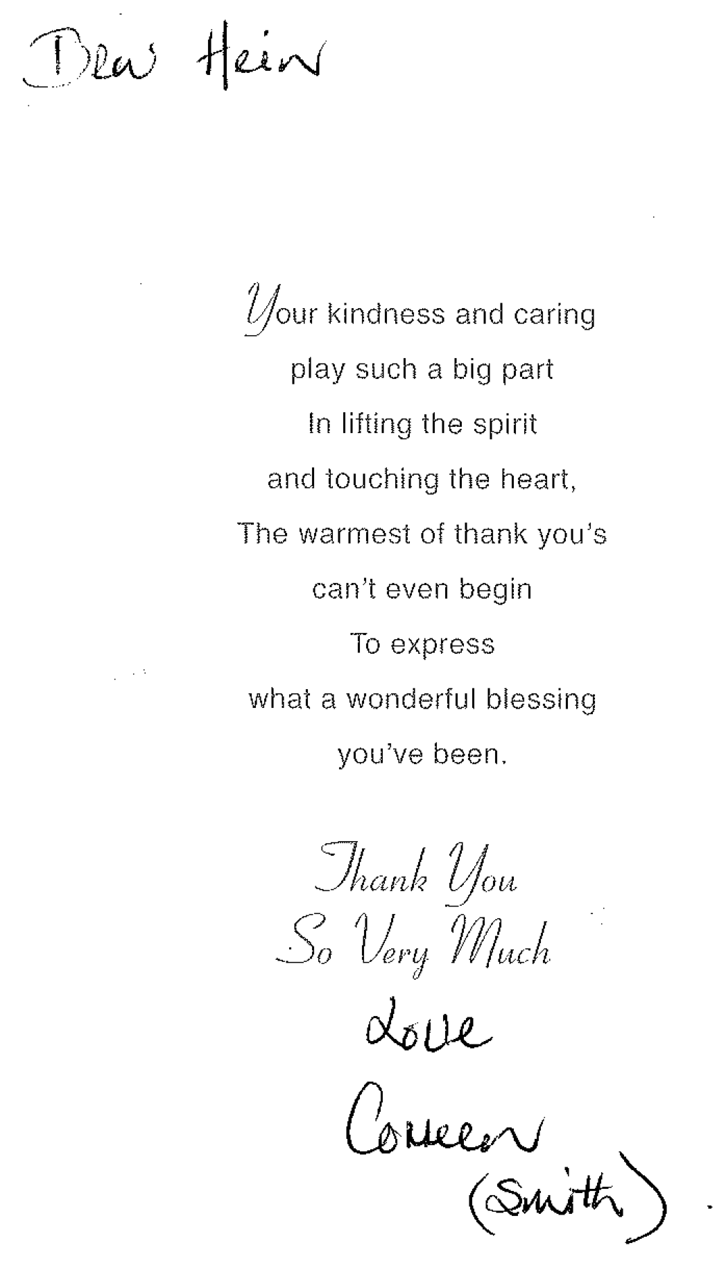 Dr Hein - Thank You Card
